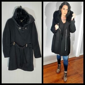 Calvin Klein Faux Fur Hooded Belted Heavy Coat
